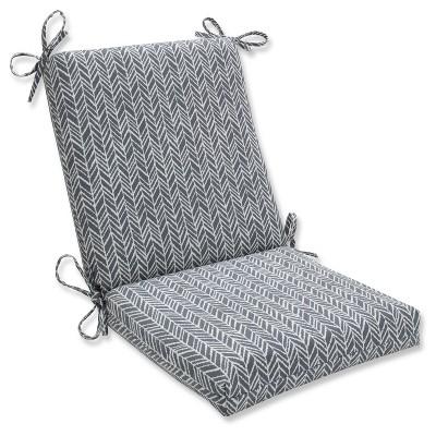 Outdoor/Indoor Herringbone Slate Squared Corners Chair Cushion - Pillow Perfect
