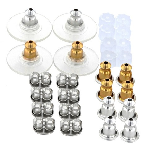 18 Pair Stainless Steel Assorted Ear Backs - Silver - image 1 of 1