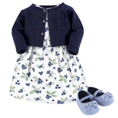 Hudson Baby Infant Girl Cotton Dress, Cardigan and Shoe 3pc Set, Blueberries