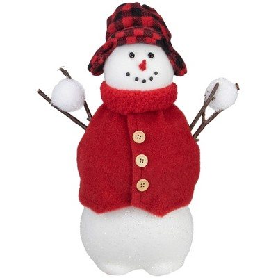 "Northlight 13.25"" Snowman with Buffalo Plaid Hat Christmas Figure"