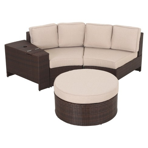 Madras Ibiza 4pc Wicker 1-2 Round Seating Set with Ottoman - Christopher Knight Home - image 1 of 4