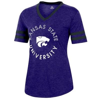 NCAA Kansas State Wildcats Women's Short Sleeve V-Neck Heathered T-Shirt