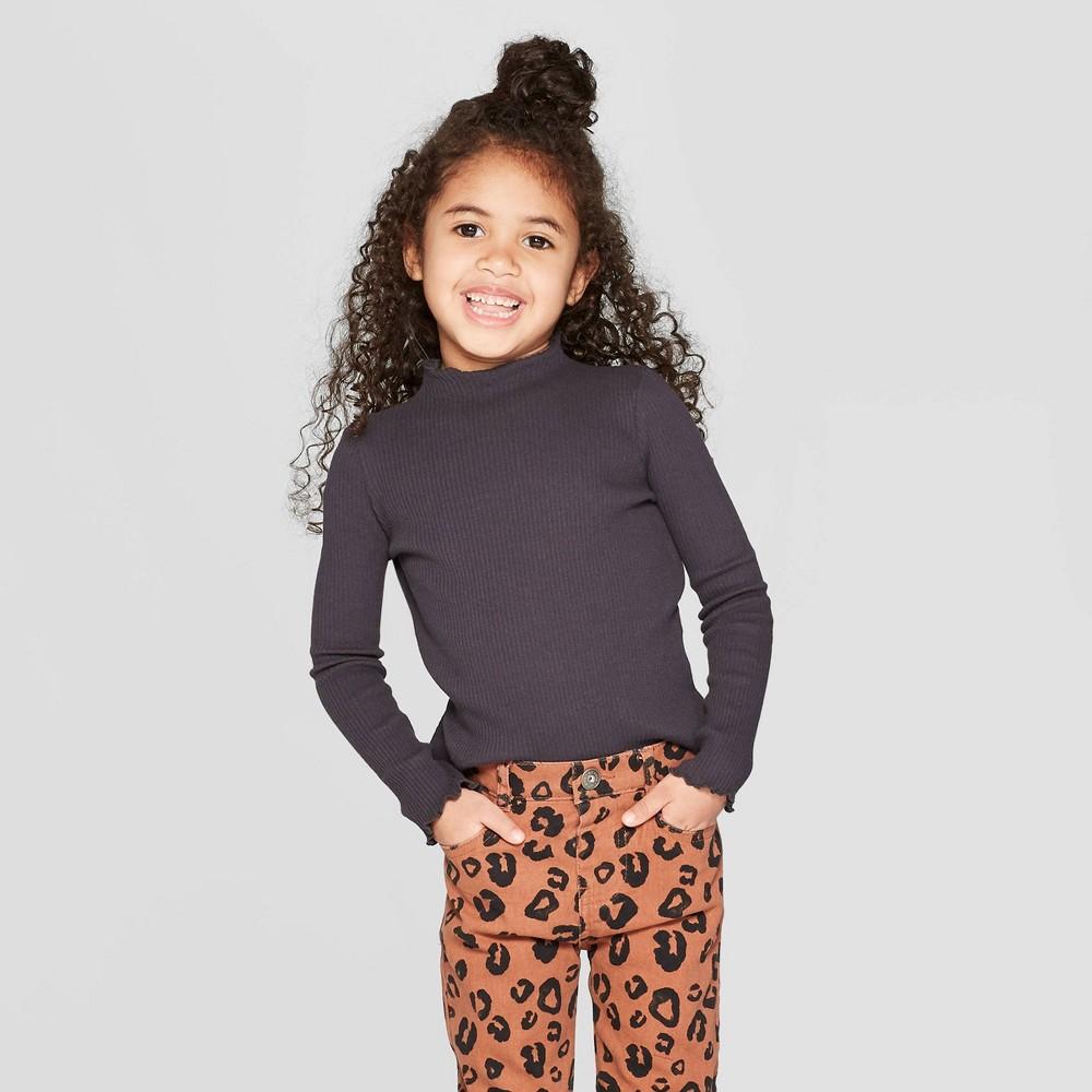 Toddler Girls' Long Sleeve Rib Knit Mock Neck T-Shirt - art class Black 3T