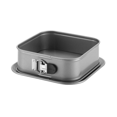 """Anolon Advanced Bakeware 9"""" Nonstick Square Springform Dessert Pan with Silicone Grips Gray"""