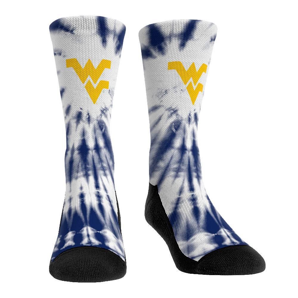 Ncaa West Virginia Mountaineers Adult Tie Dye Socks L Xl
