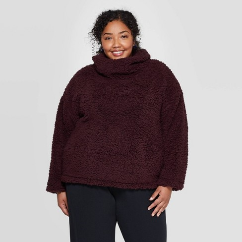 Women's Plus Size Long Sleeve Turtleneck Sherpa Pullover - A New Day™ - image 1 of 3