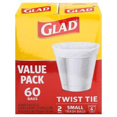 Glad Small Trash Bags 4 Gallon Twist Tie Value Pack - White - 60ct