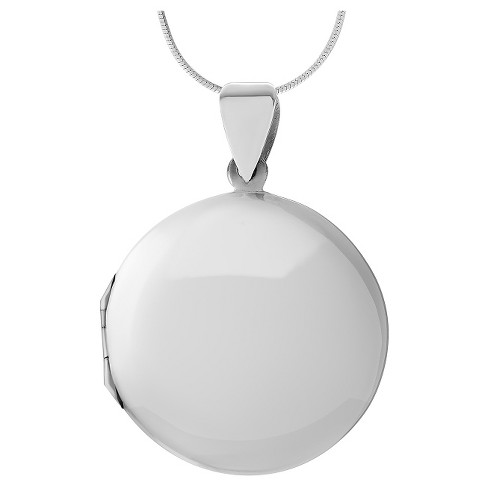 "Women's Journee Collection Round Locket Pendant Necklace in Sterling Silver - Silver (20"") - image 1 of 2"