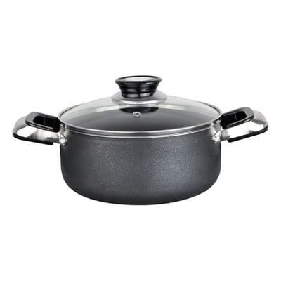 Alpine Cuisine Aluminum Non-Stick Dutch Oven Pot with Glass Lid and Carrying Handles, 10 Quart, Gray
