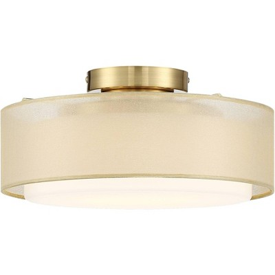 "Possini Euro Design Modern Ceiling Light Semi Flush Mount Fixture Gold 12 1/2"" Wide Dual Drum Shade Bedroom Kitchen Living Room"