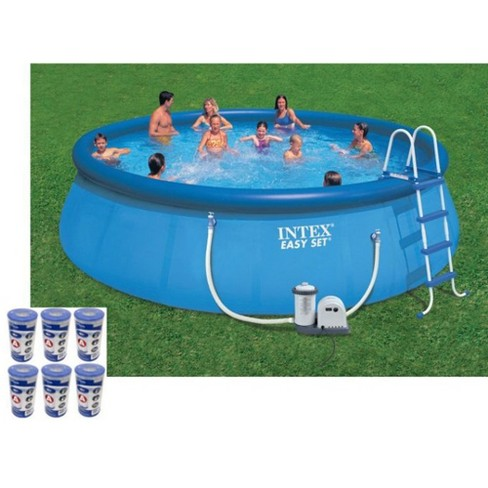 Intex 18ft x 48in Easy Set Swimming Pool Kit w/ 1500 GPH GFCI Filter Pump - image 1 of 4