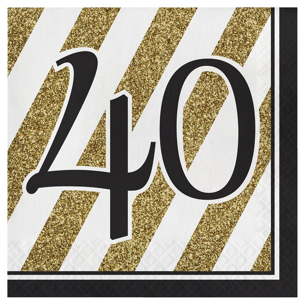 Image of 16ct Black & Gold 40th Birthday Napkins