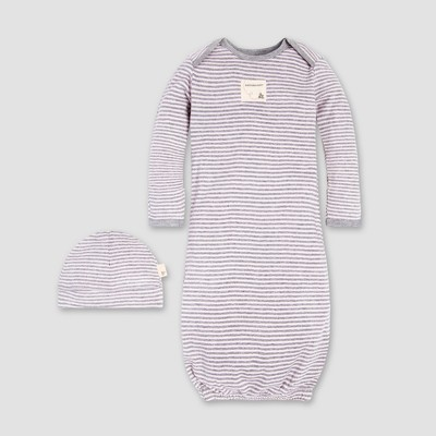 Burt's Bees Baby® Girls' Organic Cotton 2pc Classic Stripe Gown and Cap - Blossom One Size