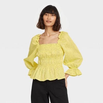 Women's Puff 3/4 Sleeve Smocked Peplum Top - Who What Wear™