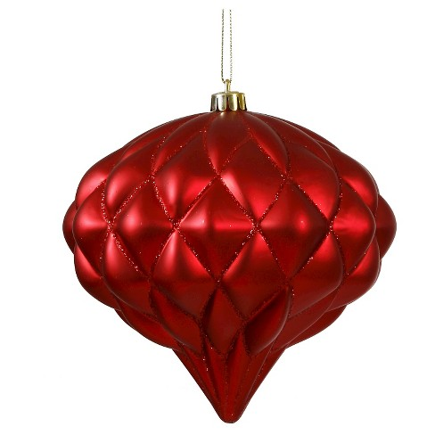 "7"" Red Matte/Glitter Diamond Christmas Ornament - image 1 of 1"