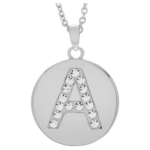 "Women's Journee Collection Brass Circle Initial Pendant Necklace with Cubic Zirconia - Silver (17.75"") - image 1 of 2"