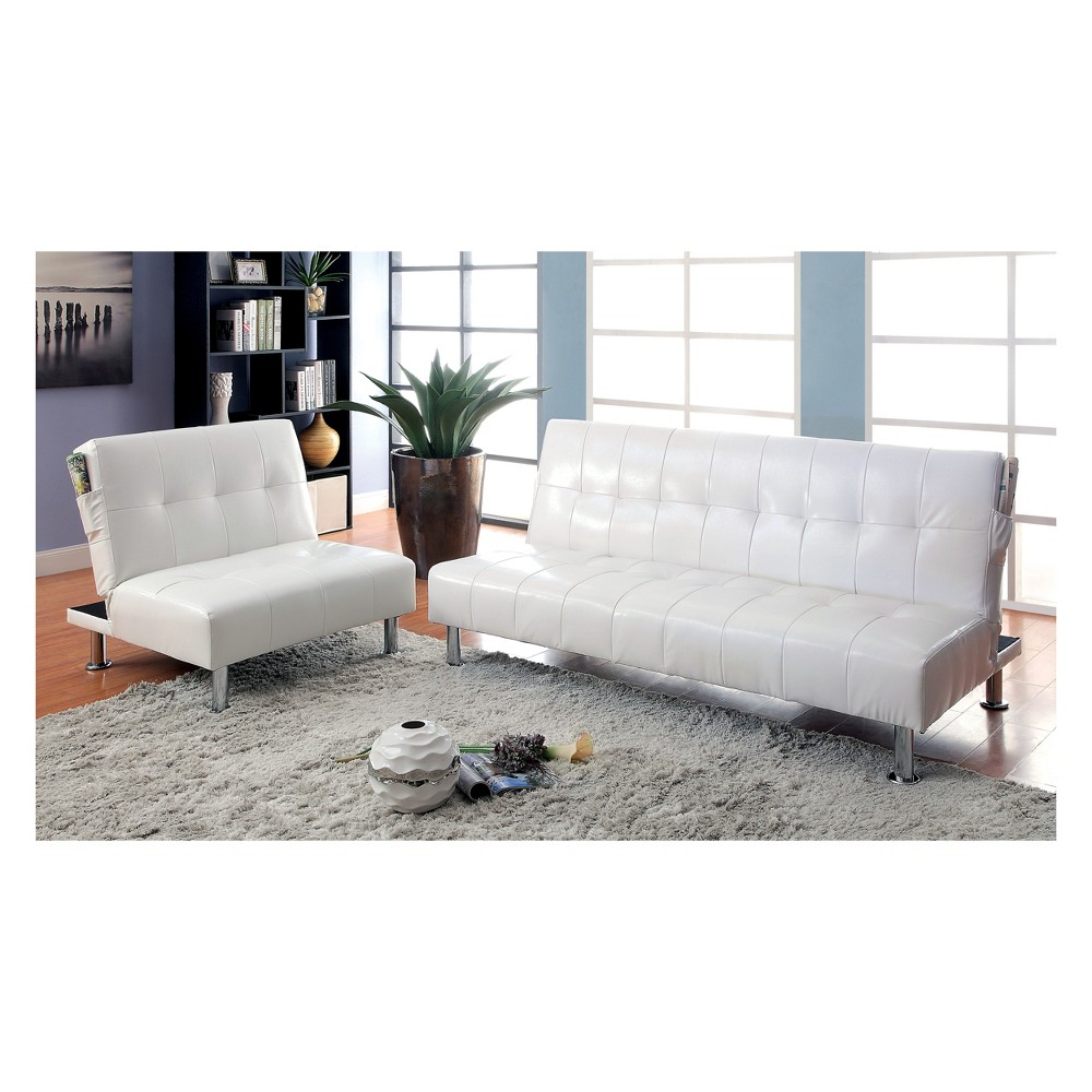 Wondrous Harrison Futon Upholstered Sofa Winter White Mibasics Gmtry Best Dining Table And Chair Ideas Images Gmtryco