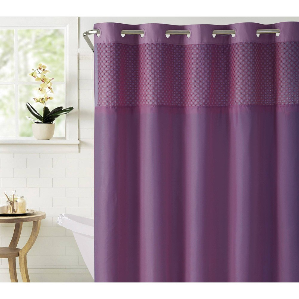 Image of Bahamas Shower Curtain with Liner Eggplant Purple - Hookless