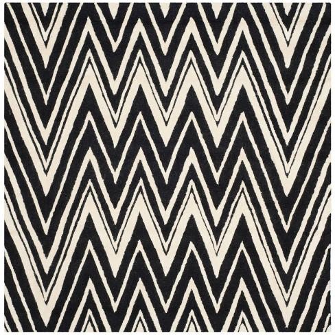 Burton Textured Area Rug - Black/Ivory (6'x6' Square) - Safavieh® - image 1 of 3