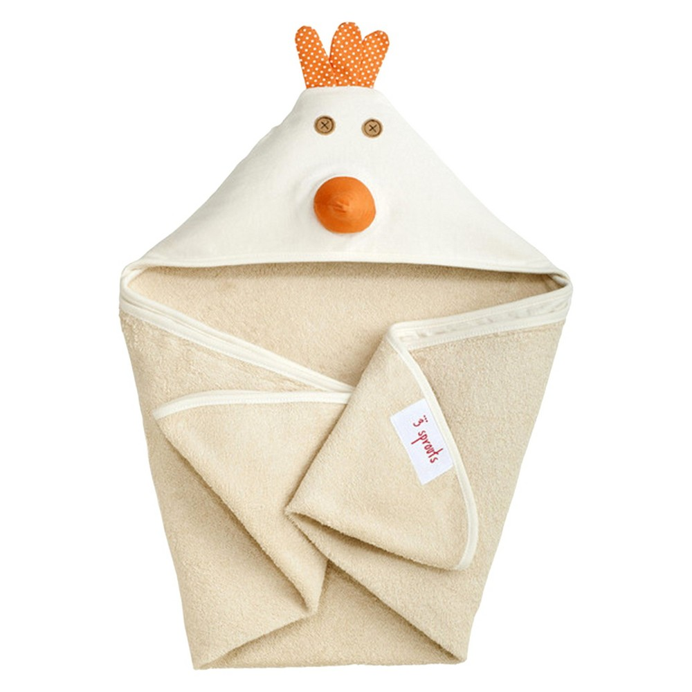 Image of 3 Sprouts Newborn/Infant Hooded Towel - Chicken, Ivory