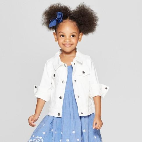 1068fea99db5 Toddler Girls' Jean Jacket - Cat & Jack™ White 12M : Target
