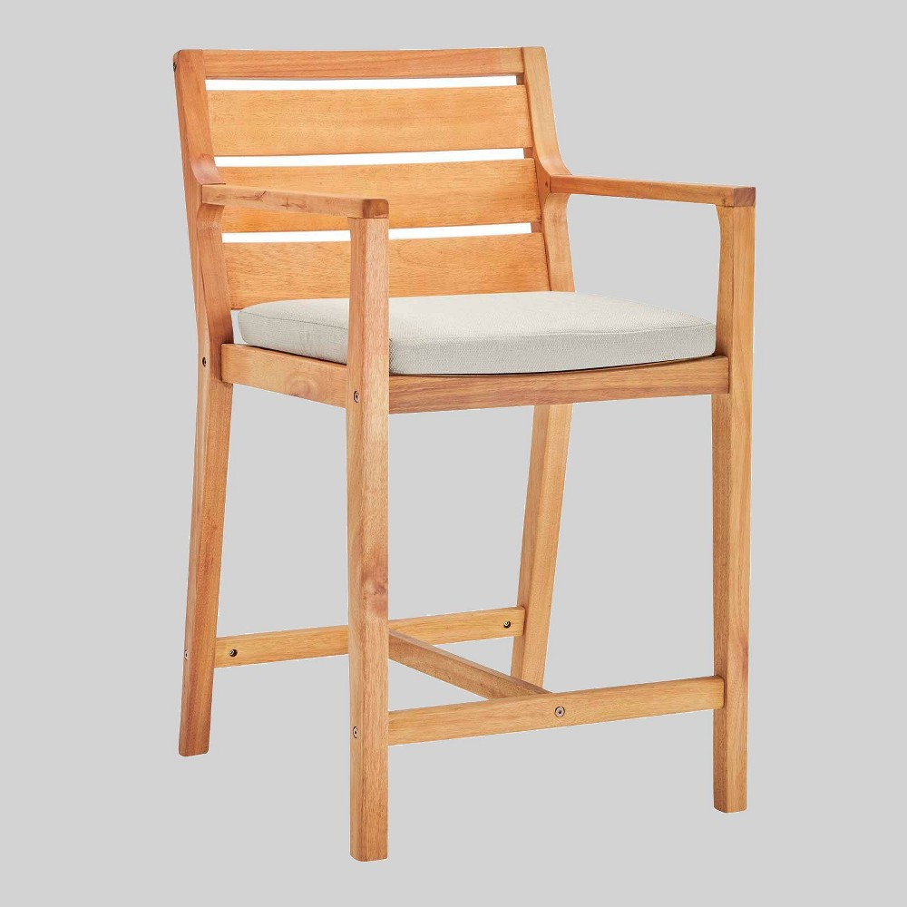 Portsmouth Karri Wood Outdoor Patio Barstool Taupe Modway