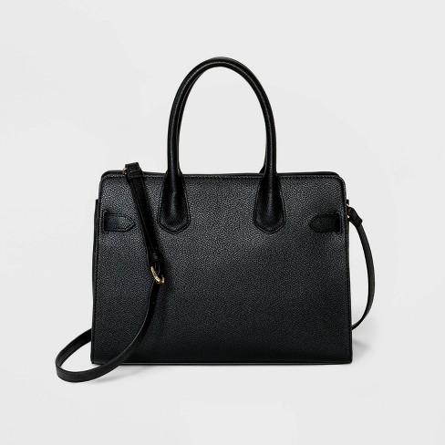 Belted Satchel Handbag - A New Day™ Black - image 1 of 3