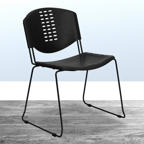 Emma And Oliver 400 Lb Capacity Black Plastic Stack Office Side Chair Target