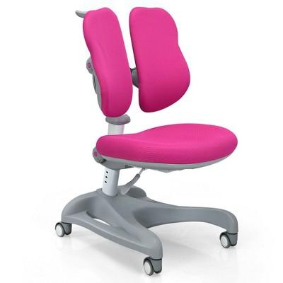 Costway Kids Study Desk Chair Adjustable Height Depth w/Sit-Brake Casters