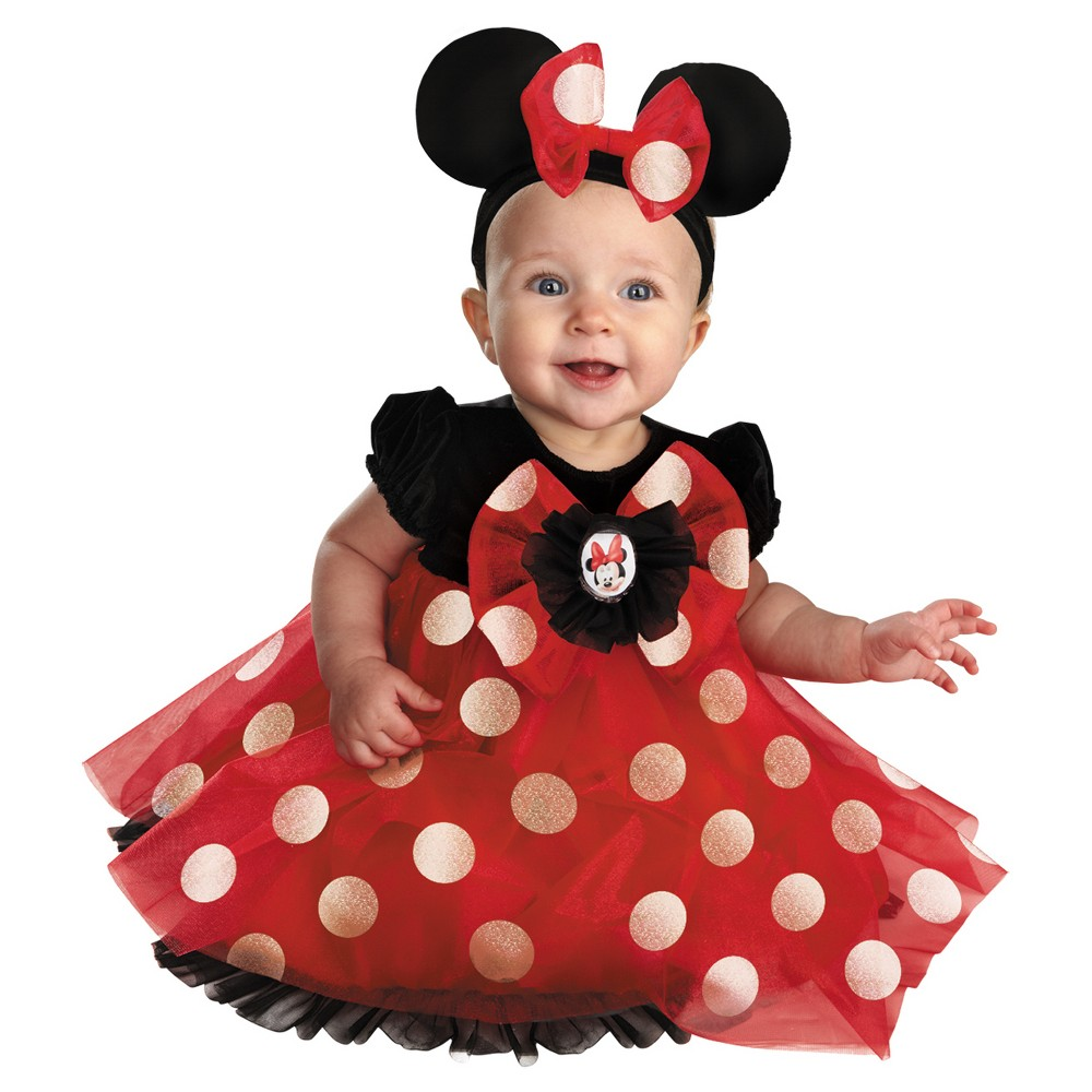 Image of Halloween Disney Minnie Mouse Baby Girls' Red Costume 6-12 Months, Infant Girl's, Size: 6-12M, MultiColored