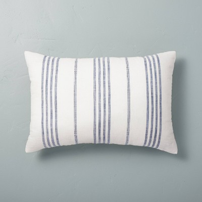 """14"""" x 20"""" Vertical Stripe Throw Pillow Blue - Hearth & Hand™ with Magnolia"""