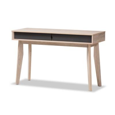 Fella Mid   Century Modern 2   Drawer Wood Study Desk   Brown   Baxton  Studio