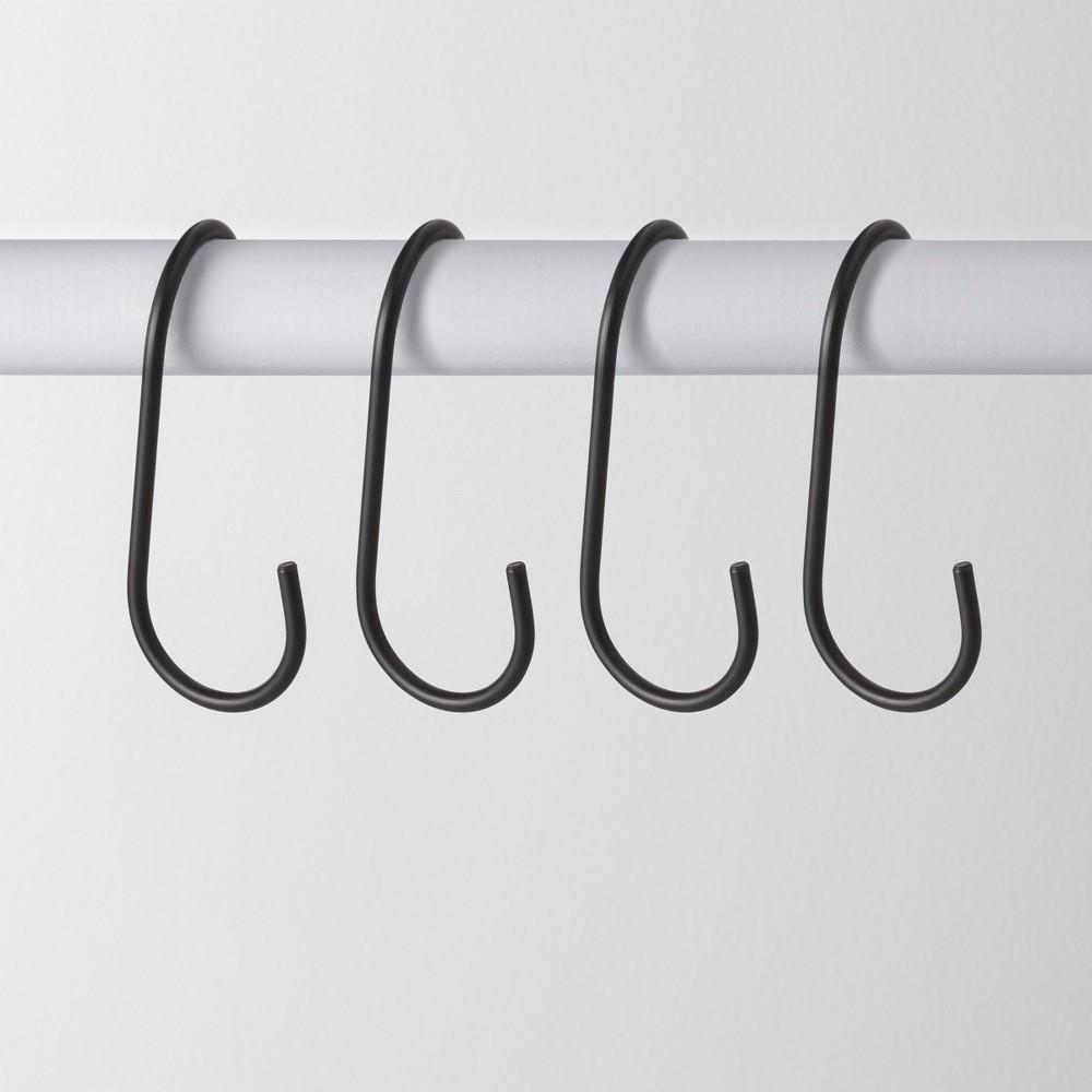 4pk Metal J Hook Hanger Black - Made By Design, Matte Black