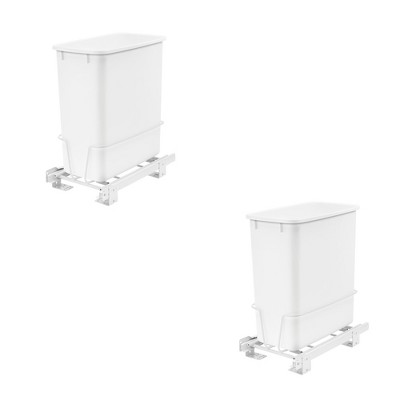 Rev-A-Shelf RV-814PB 20 Quart Pull-Out Waste Container Undermount Cabinet Garbage Bin Trash Can for Kitchen, Laundry Room, or Vanity, White (2 Pack)