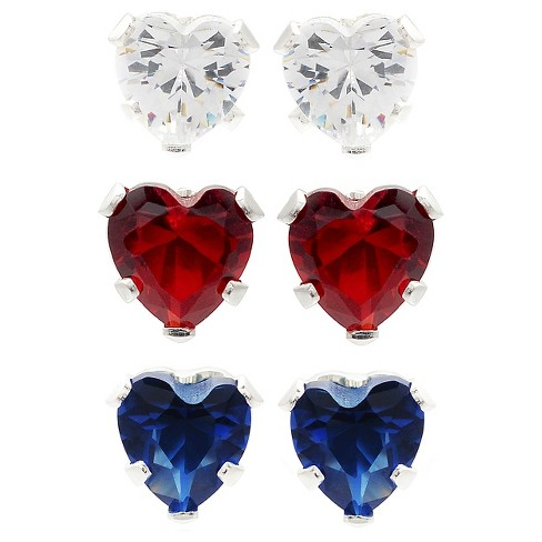 Journee Collection 5/8Ct T.W. Heart-Cut Cubic Zirconia Sterling Silver Prong Stud Earrings Set - image 1 of 2