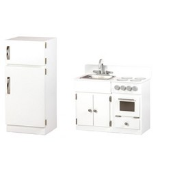 Remley Wooden Sink/Stove & Refrigerator Kitchen Playset CPSIA Kid Safe Finish - Ships Assembled, White