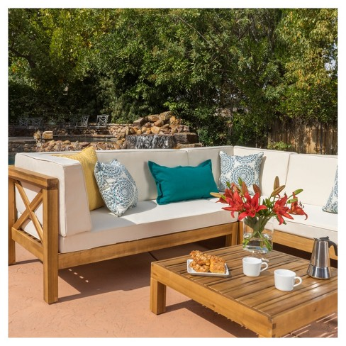 Brava 4pc Wood Patio Chat Set W Cushions Christopher Knight Home Target