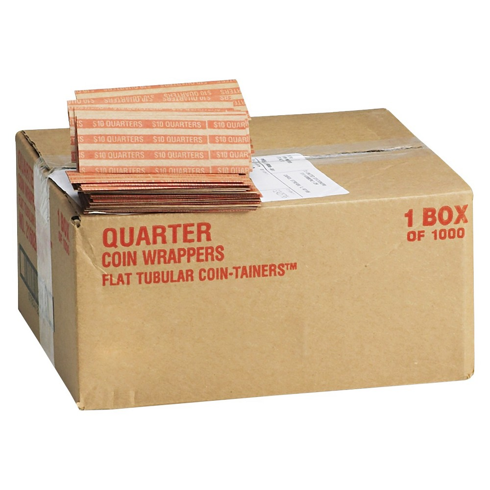 Mmf Industries Pop - Open Flat Paper Coin Wrappers - Quarters - $10 - 1000 Wrappers Per Box, Brown