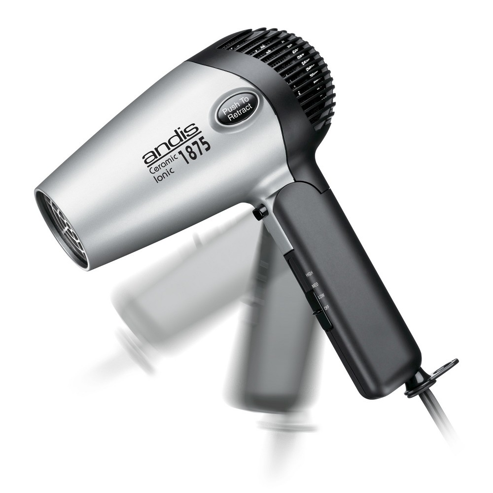 Andis Fold-N-Go Ionic Dryer, Silver The Andis Fold-N-Go 1875 watt ceramic ionic hair dryer is perfect for traveling or use in small apartments. The a retractable cord and folding handle make it easy to store without taking up lots of valuable space. It has three heat/air speeds for ultimate styling and control and a cool shot button locks in style. Ionic technology dries hair faster by breaking up water molecules. When the moisture balance is restored and the hair cuticle is sealed, hair is renewed, repaired, and revitalized for a softer, smoother, shinier finish. 5 Year Warranty. Color: Silver. Gender: Unisex. Pattern: Solid.