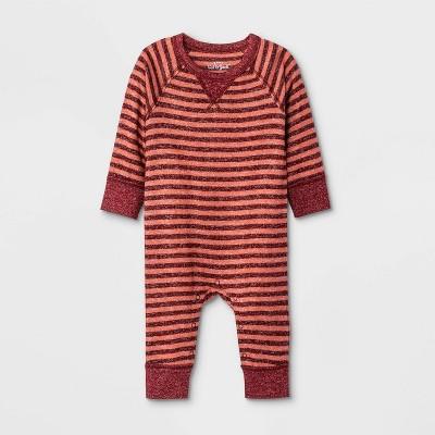 Baby Boys' Striped Romper - Cat & Jack™ Maroon 0-3M