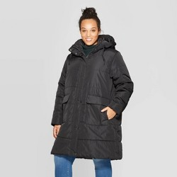 Women's Plus Size Long Sleeve Quilted Puffer Jacket - Ava & Viv™