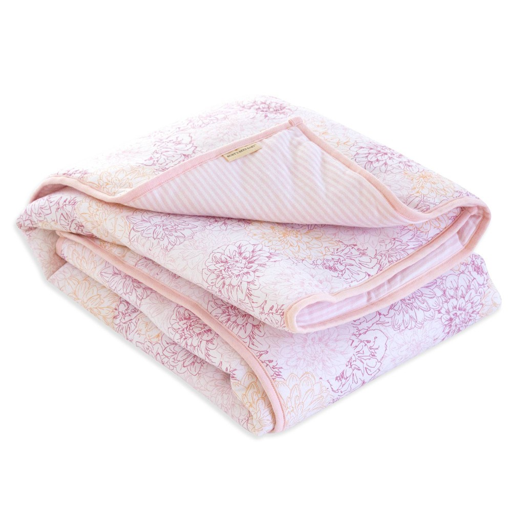 Image of Burt's Bees Baby Organic Reversible Quilt - Peach Floral, Pink Floral
