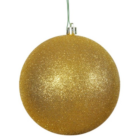 "Vickerman 6"" Antique Gold Glitter Ball Christmas Ornament, 4 per Bag - image 1 of 3"
