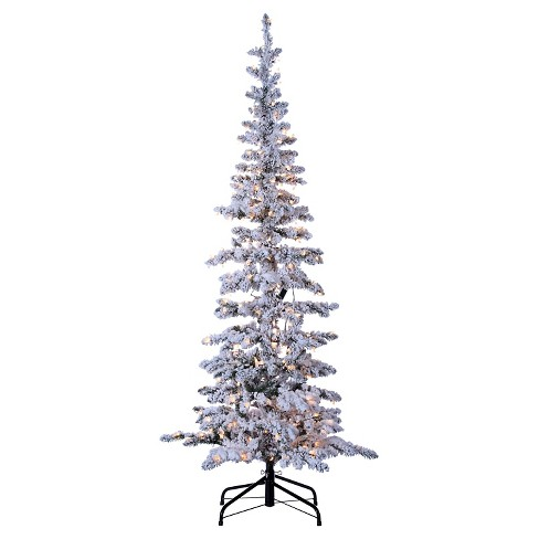 6.5ft Pre-Lit Artificial Christmas Tree Flocked Narrow Pine - Clear Lights  : Target - 6.5ft Pre-Lit Artificial Christmas Tree Flocked Narrow Pine - Clear