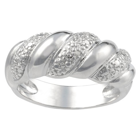 1/10 CT. T.W. Round-Cut Diamond Pave Set Braid Ring in Sterling Silver (J-K-I1-I2) - image 1 of 2
