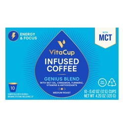 Vitacup Infused Genius Blend Coffee (Energy & Focus) Single Serve Pods - 10ct