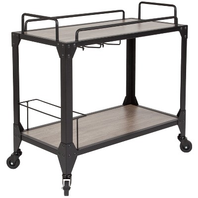 Flash Furniture Midtown Light Oak Wood and Iron Kitchen Serving and Bar Cart with Wine Glass Holders
