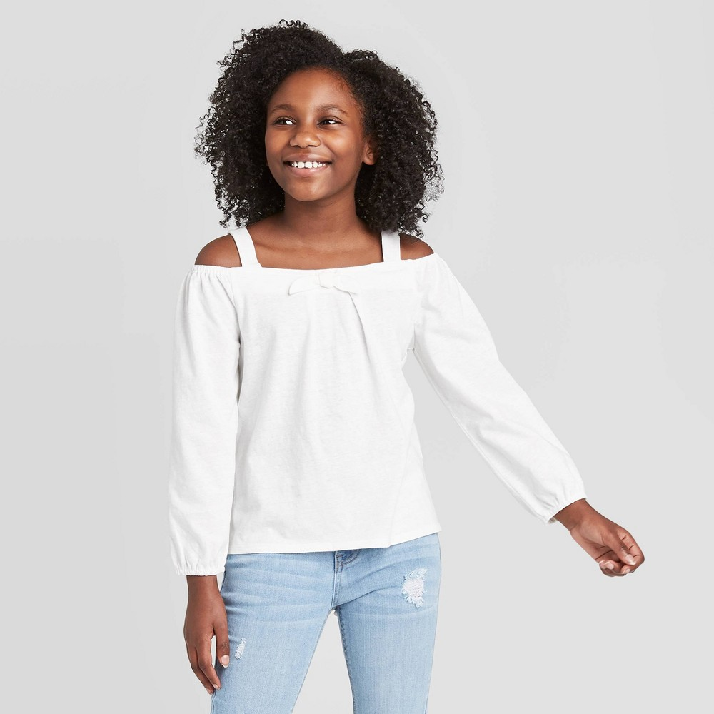 Image of Girls' Cold Shoulder Knit Top - art class White L, Girl's, Size: Large