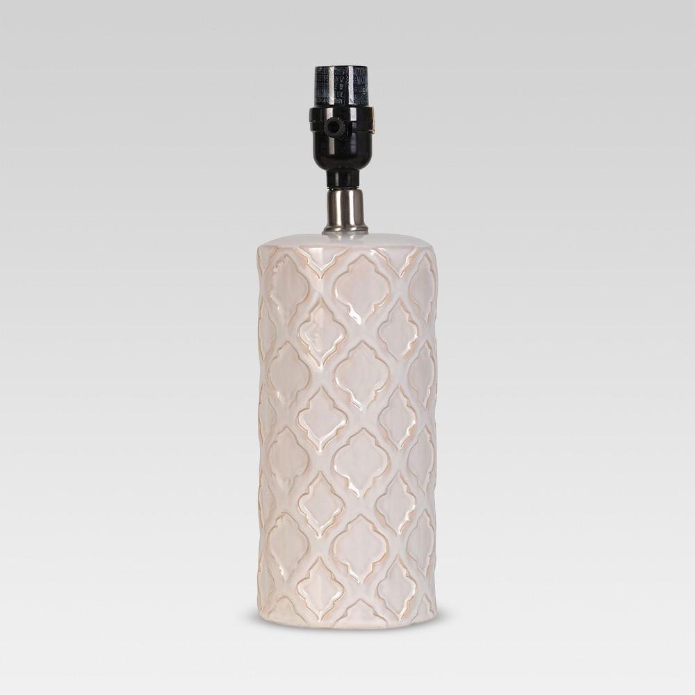 Image of Lattice Ceramic Small Lamp Base Cream Includes Energy Efficient Light Bulb - Threshold