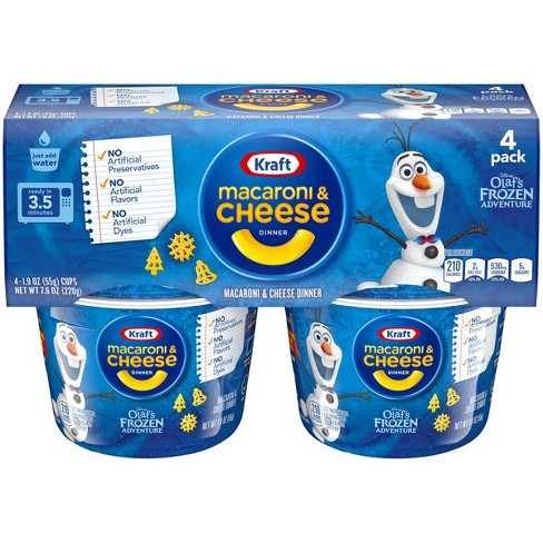 Kraft Olaf S Frozen Shapes Mac Cheese 4pk Cups 7 6oz Target